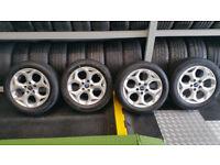Ford Genuine Snowflake 16 alloy wheels + 4 x tyres 205 55 16