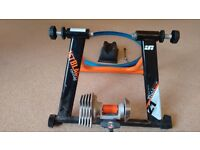 Black jet turbo trainer, skewer, tyre and front wheel choc