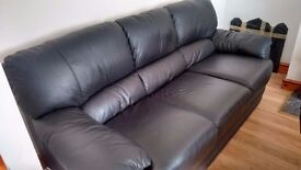 Black Leather Sofas 3 seater + 2 seater, Excellent condition