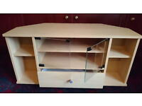 Corner unit with drawer and shelves