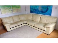 good condition biege (cream) leather sofa corner sofa only £150 Good bargain price