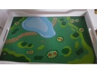 White children's play table with storage in good condition