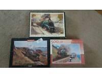 3 x 500 piece train puzzles