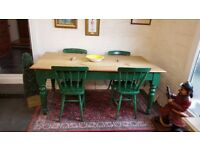 antique kitchen table and 4 chairs, scrub top solid pine