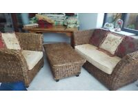 Banana Leaf Conservatory 5 piece Sofa,Chairs,Table,Footstool Set