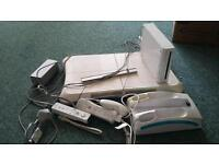 Wii console and wii fit board