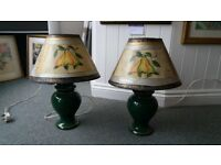 "2 bedside lamps in a good working order plus lampshades 20"" tall"