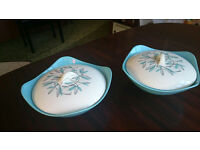Vintage China, Midwinter (Cassandra Pattern) 2x Vegetable Tureens with Lids