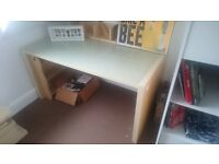 beech desk with set frosted glass surface