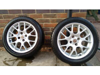 2 x mg zr 16 inch alloy wheels with tyres