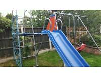 Climbing frame with slide and swings £75
