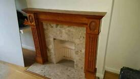 Oak fire place and marble surround