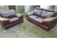 Lovely cherry brown italian leather sofa suite. can deliver