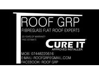 Fibreglass roof installation GRP FLAT ROOF. Roofer, flat roof.