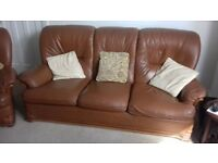 brown leather 3 seater setee and armchair good condition £40