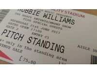 2 x standing tickets for Robbie Williams Cardiff 21 June