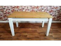 Farmhouse Pine Dining / Extending Table - in Huge Range of Sizes - Tapered Legs