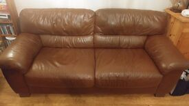 2x Brown Leather Sofas. 2 seater & 3 seater