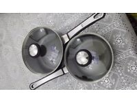 Prestige non stick saucepans 16cm & 18cm brand new never been used.
