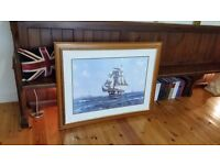 ornate oak framed picture of a ship with Saint Marys Island Whitely Bay in the background