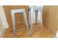 Silver Metal Breakfast Bar Stools (pair)