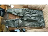 "Motorcycle leather pants 40"" waist short leg"