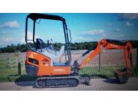 Mini digger with driver for hire all aspects foundations and groundworks