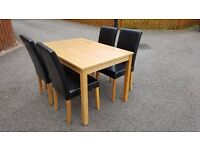 Oakmere Dining Table & 4 Leather Chairs FREE DELIVERY (02103)