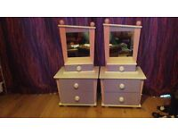 Girls (childrens) Bed side Tables ( cabinet/ drawers), solid Mdf. Little Princes.Excellent Condition