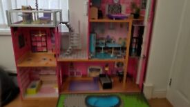 Dolls house complete with furniture, very good condition