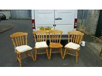 4 pine wood dining room chairs