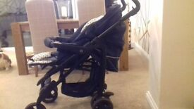 Black & White Silver Cross Pram with Adjustable Seat For Sale