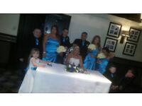 Kingfisher blue dresses.