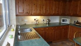 Complete pine kitchen, inc dishwasher,cooker and hood,s/steel sink.