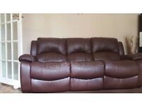 Brown leather sofas 3 seater and 2x 1 seater with recliners