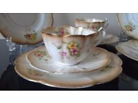 Art Nouveau China Tea Set / China Trios - 11 items ideal for Dresser, Vintage Wedding / Tea Party