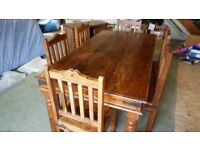 Genuine Myakka Indian Rosewood Dining Table & Six Chairs - BARGAIN