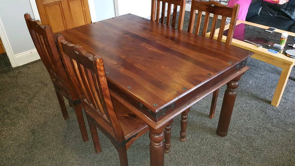 Indian Sheesham Dining Table And 4 Chairs
