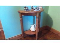 SOLID WOOD HALF TABLE, WOULD BE GREAT FOR PAINTING, UPCYCLING, SEE ALL MY ADS AND PICS