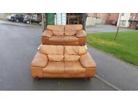 2 2 seater sofas in tan Italian leather £220 delivered in belfast.