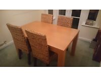 ** Dining table and 4 chairs ** Originally from Next. Modern, sturdy table, comfortable chairs.