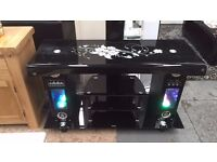 ONLY £199 - GENIE BLACK GLASS TV STAND WITH SPEAKERS/LIGHTS /USB FUNCTION/ FM RADIO - NEW