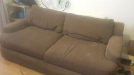Brown fabric sofas 3 &2 Seater has washable covers needs collection asap