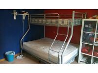 Metal Framed Bunkbeds. Single top, double bottom