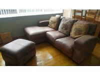 L shape leather quality Sofa arm chair and stool 3 piece set