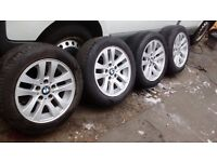 "BMW ALLOY WHEELS & TYRES SET OF 4 SIZE 205X55X16"" VERY GOOD CONDITION £250 O.N.O."