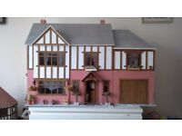 Large dolls house with furniture, garage and lighting
