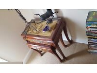 Nest of rosewood Chinese carved coffee tables
