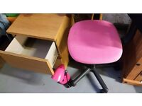 Bedside drawer plus study chair and lamp