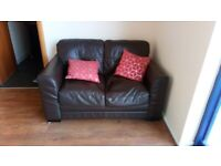 Brown Leather Sofa 2 Seater Used Condition